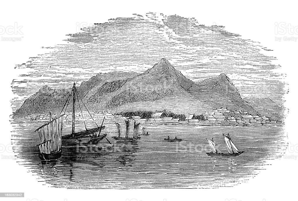 19th century engraving of Hakodate Harbour, Japan vector art illustration