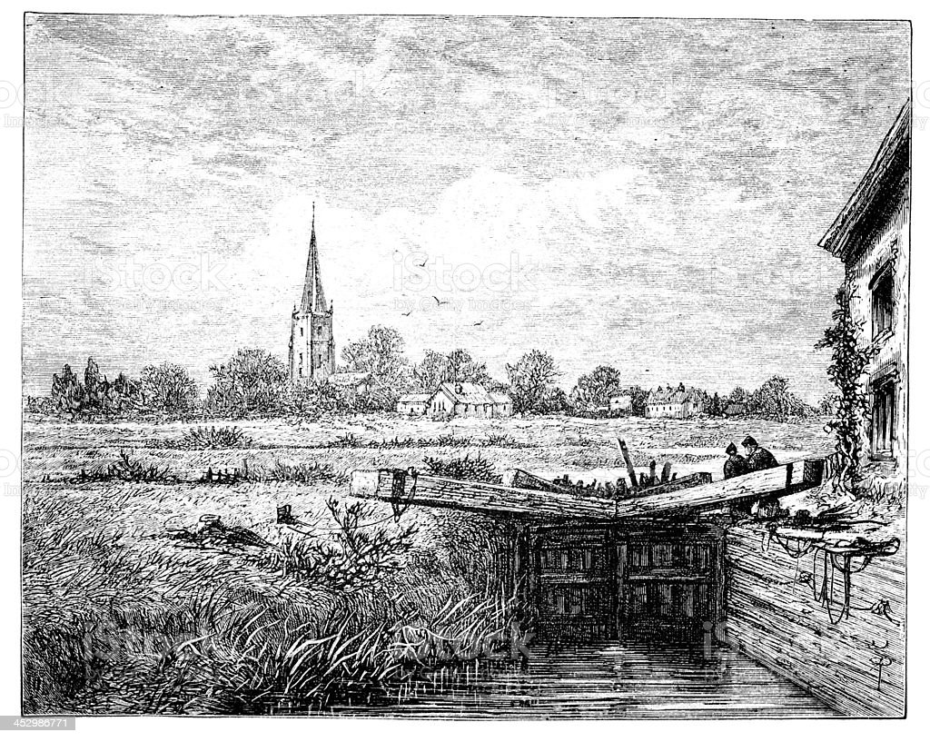 19th century engraving of Lechlade, Gloucestershire, UK vector art illustration