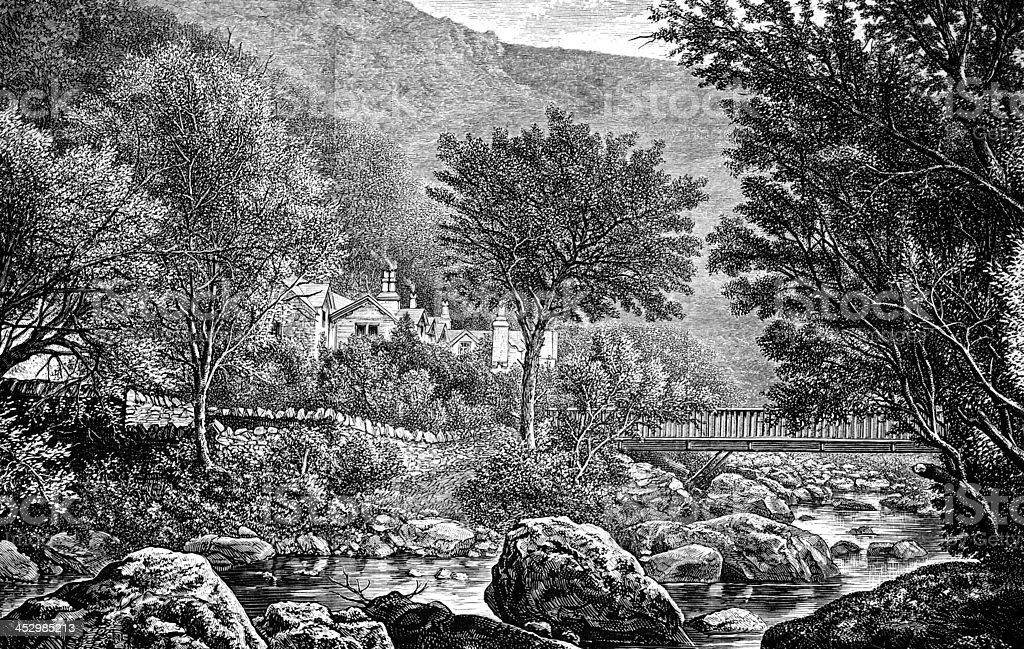 19th century engraving of Lynmouth, Devon, UK vector art illustration