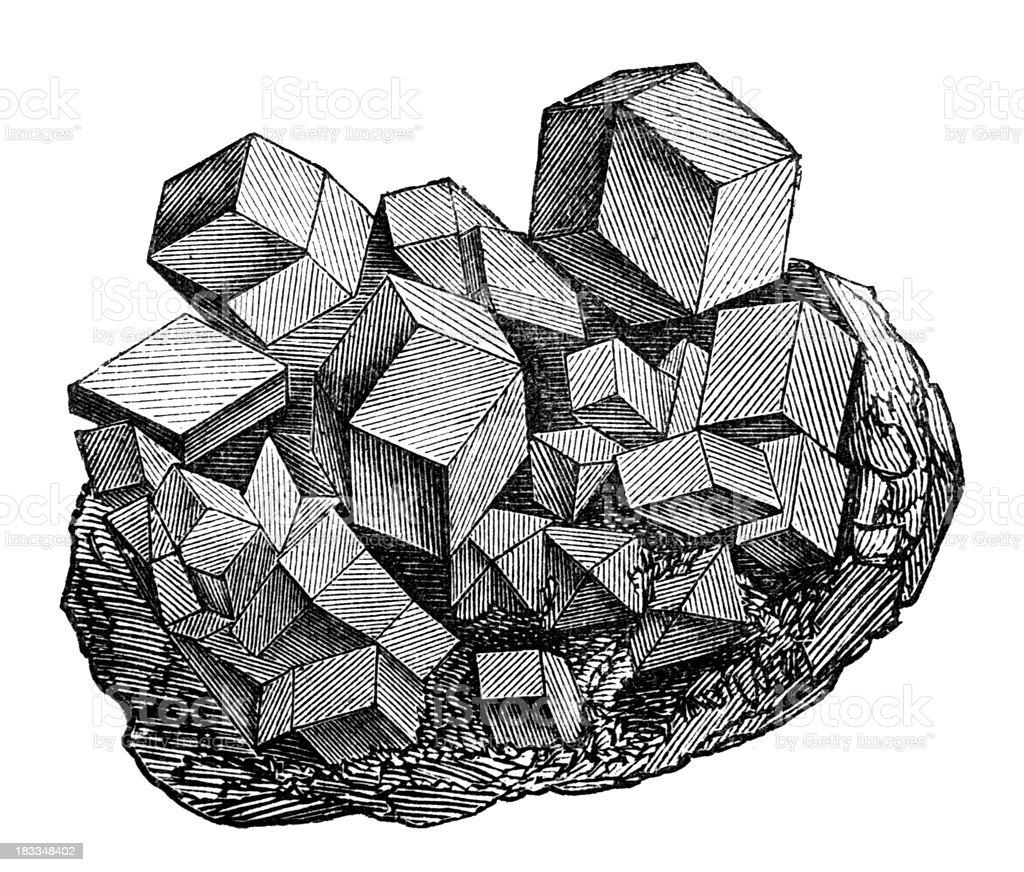 19th century engraving of magnetite vector art illustration