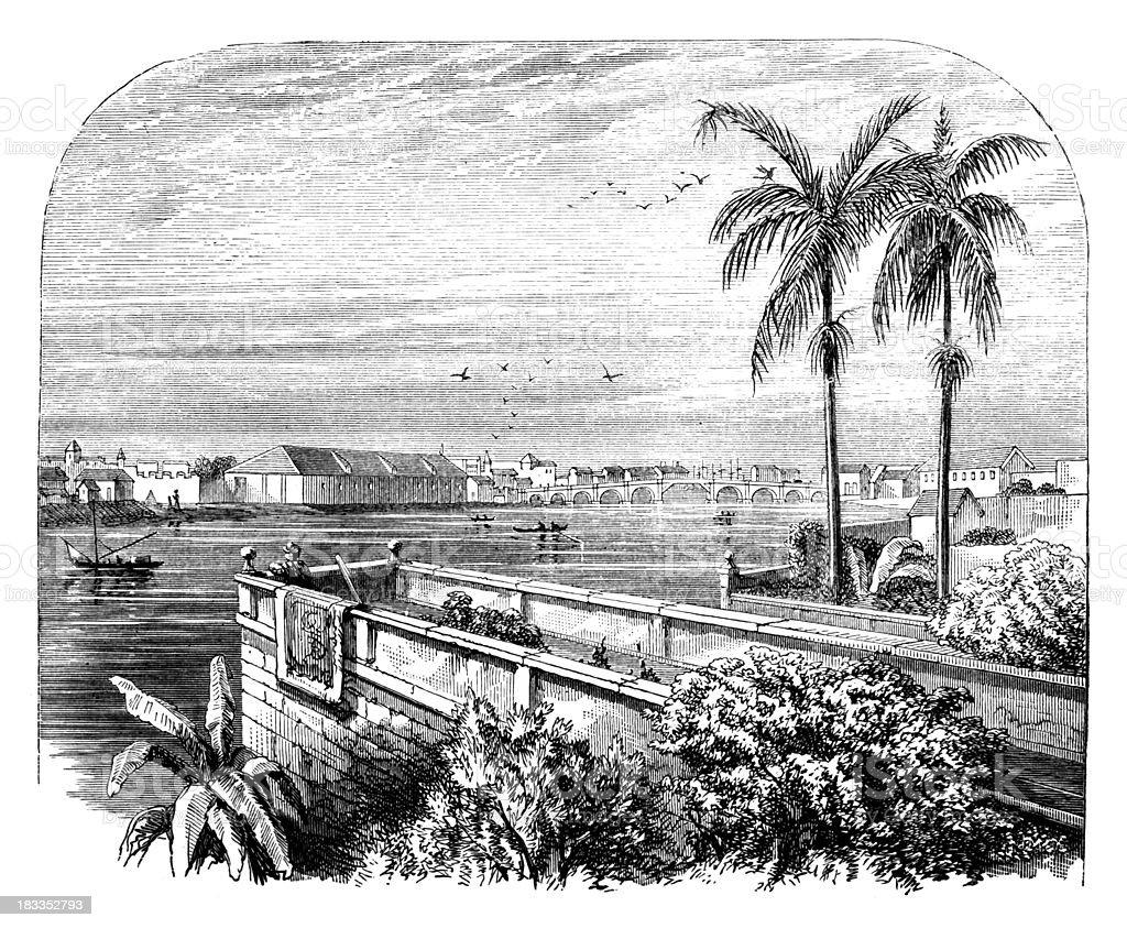 19th century engraving of Manilla, Phillipines vector art illustration