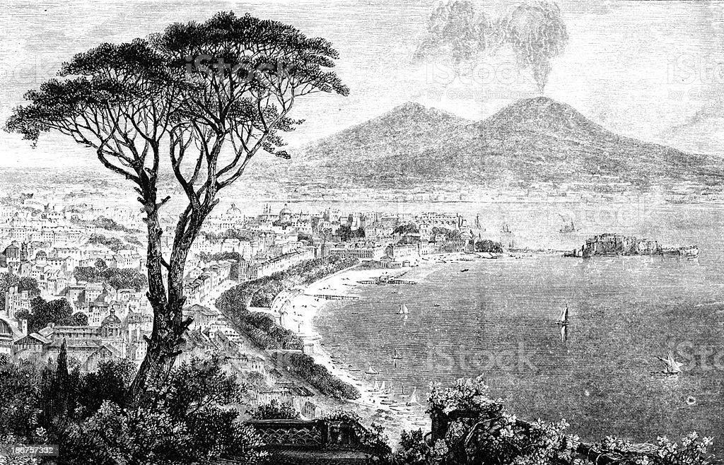 19th century engraving of Naples, Italy vector art illustration