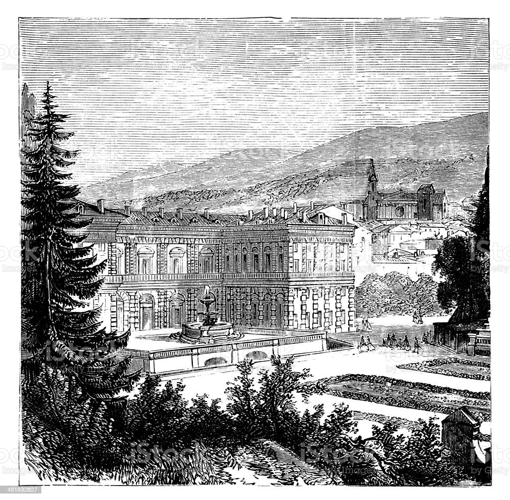 19th century engraving of Palazzo Pitti, Florence, Italy vector art illustration