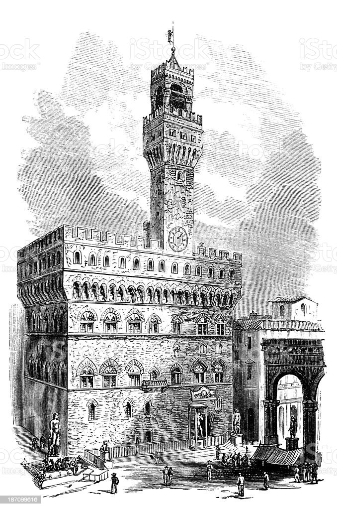 19th century engraving of Palazzo Vecchio, Florence, Italy vector art illustration