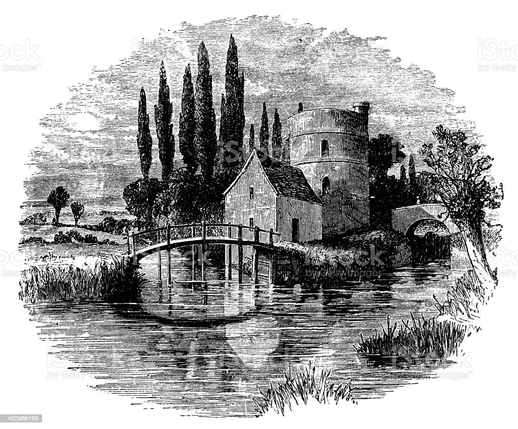 19th century engraving of River Thames near Lechlade, UK vector art illustration
