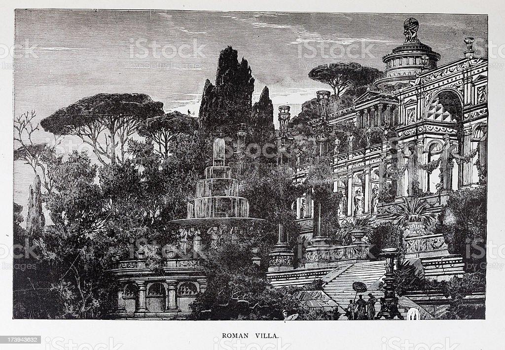19th century engraving of roman villa vector art illustration