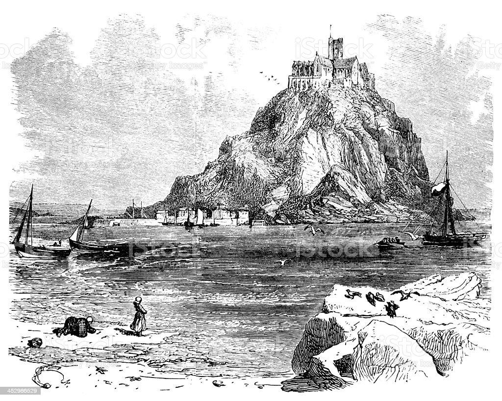 19th century engraving of St. Michael's Mount, Cornwall, UK vector art illustration