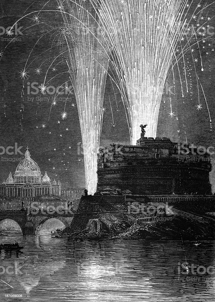 19th century engraving of St. Peter's and Castel Sant'Angelo at vector art illustration