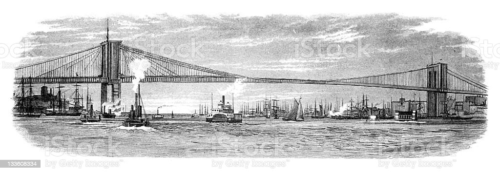 19th century engraving of the Brooklyn Bridge royalty-free stock vector art