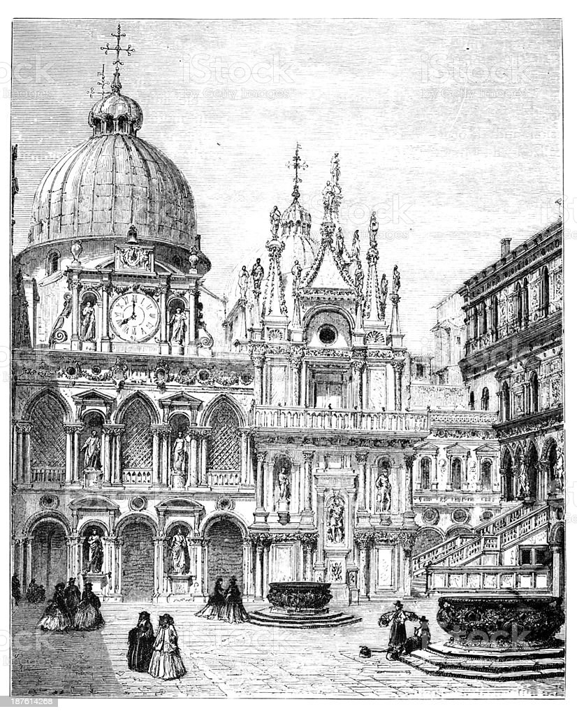 19th century engraving of the Doge's Palace, Venice, Italy vector art illustration