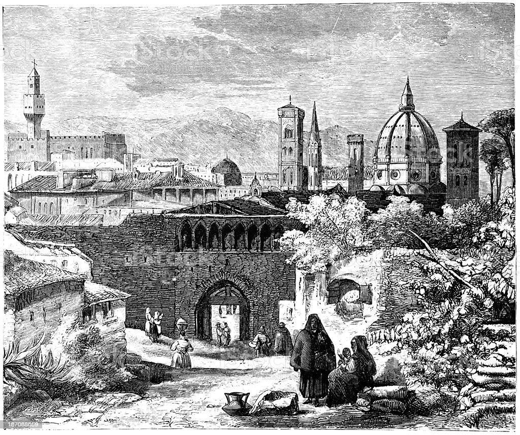 19th century engraving of the entrance to Florence, Italy vector art illustration