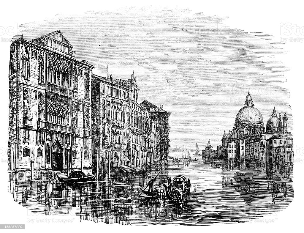 19th century engraving of the Grand Canal, Venice vector art illustration