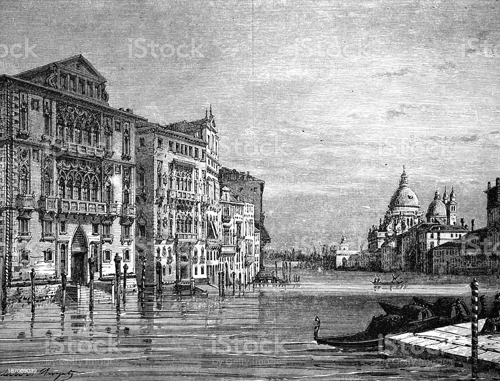 19th century engraving of the Grand Canal, Venice, Italy vector art illustration