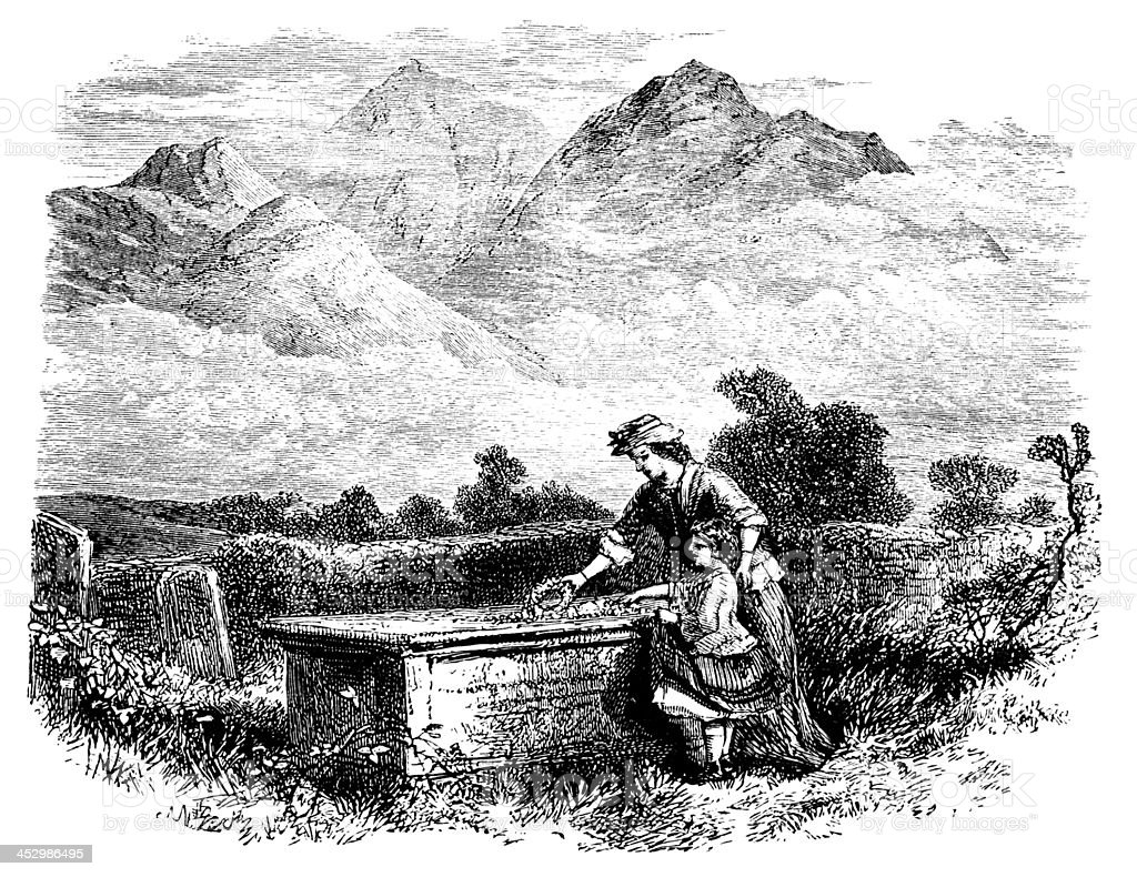 19th century engraving of the Lake District countryside, UK vector art illustration