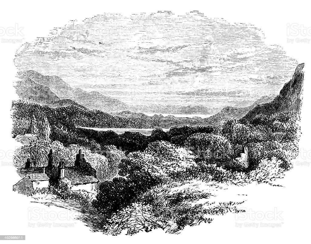 19th century engraving of the Lake District, UK vector art illustration