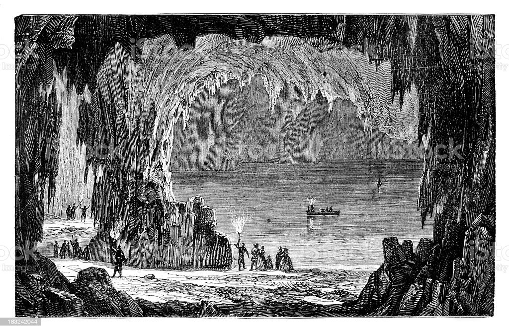19th century engraving of the Mammoth Cave, Kentucky vector art illustration