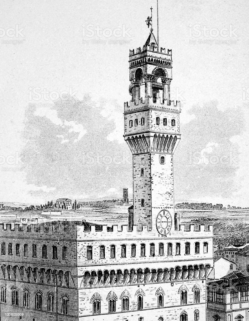 19th century engraving of the Palazzo Vecchio, Florence vector art illustration