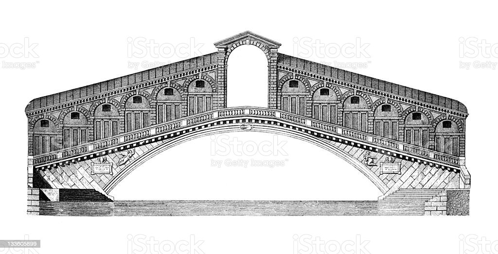 19th century engraving of the Rialto Bridge, Venice royalty-free stock vector art