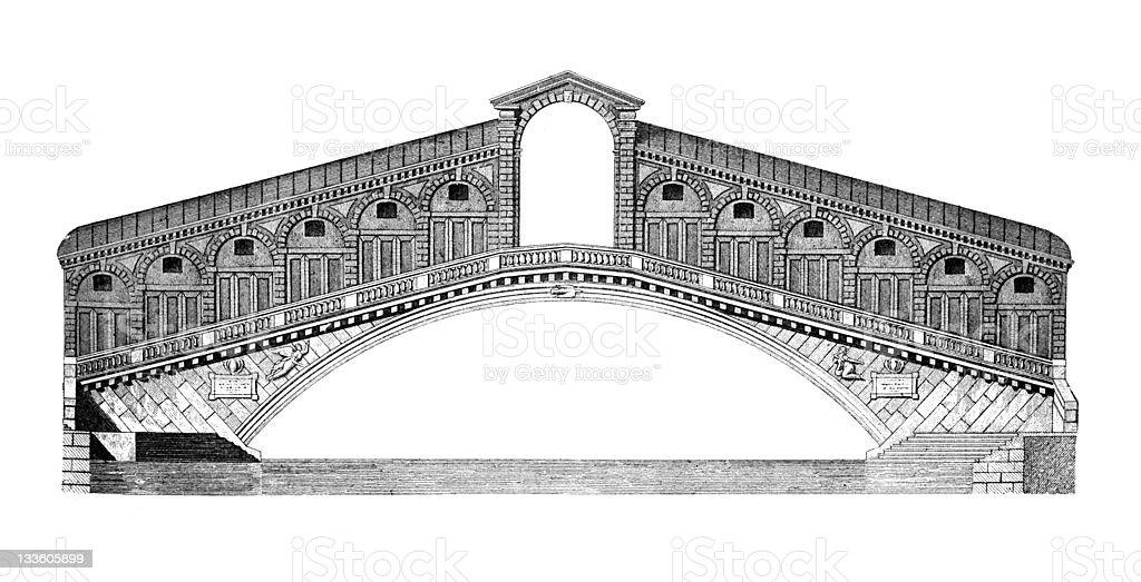 19th century engraving of the Rialto Bridge, Venice vector art illustration