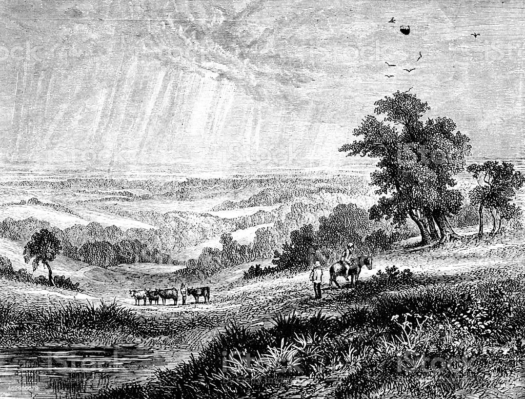 19th century engraving of The Weald, Sussex, UK vector art illustration