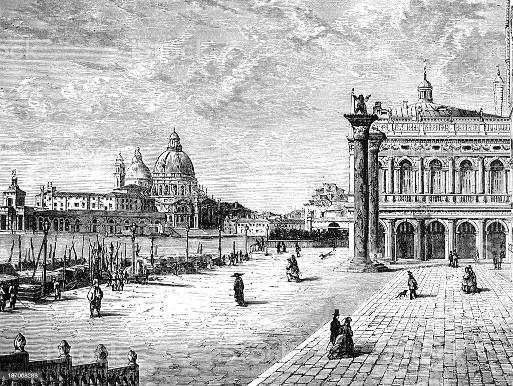 19th century engraving of Venice, Italy vector art illustration