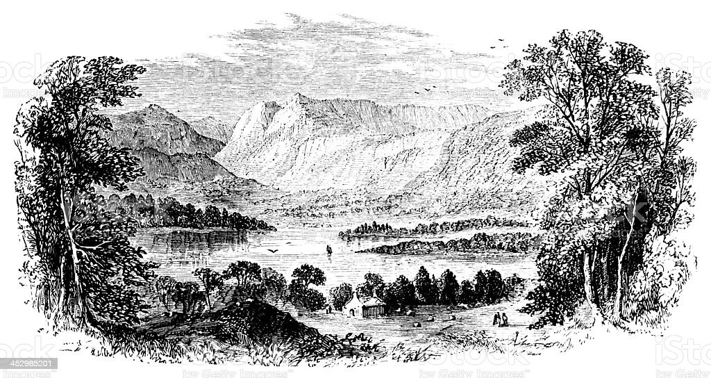 19th century engraving of Windermere, Lake District, UK vector art illustration