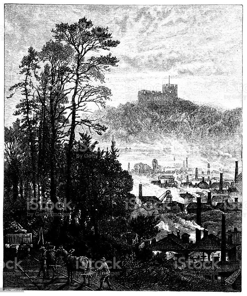 19th century engraving og Dudley Castle, West Midlands, UK vector art illustration