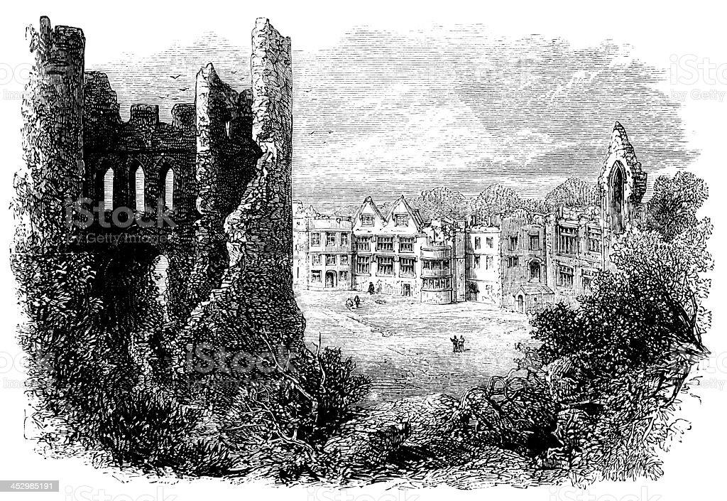 19th century engraving og Dudley Castle, West Midlands, UK royalty-free stock vector art