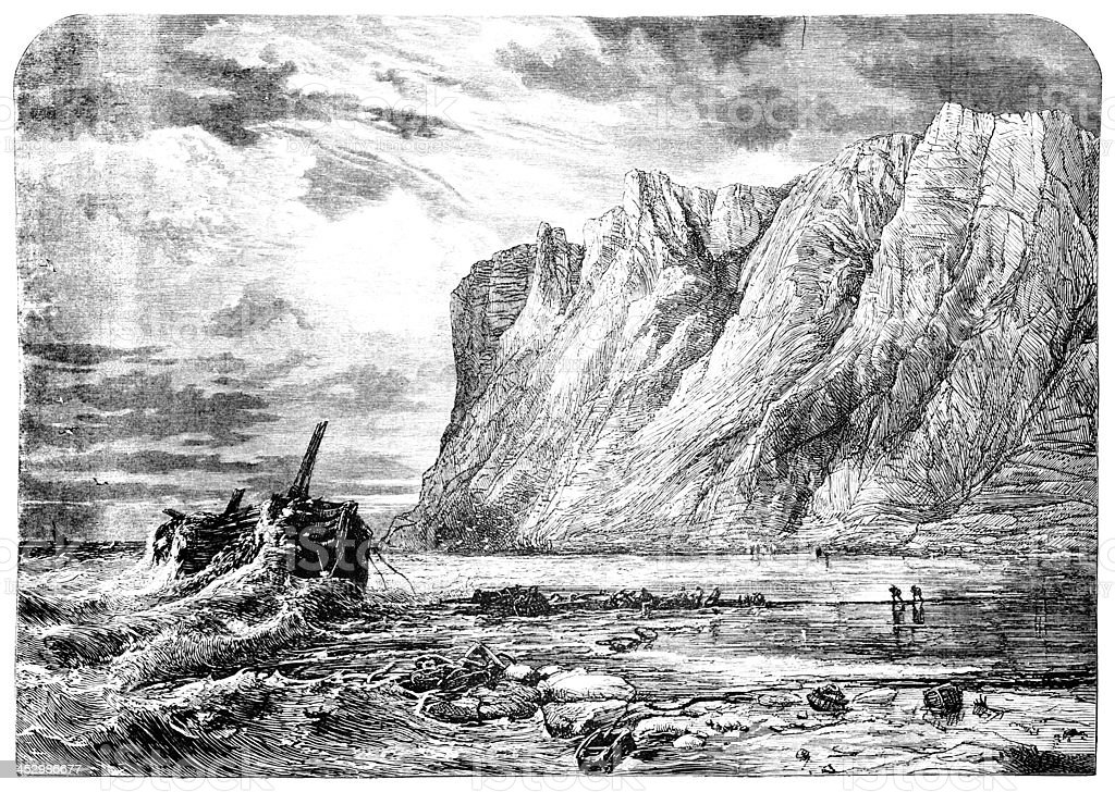 19th century engraving the south coast of England vector art illustration