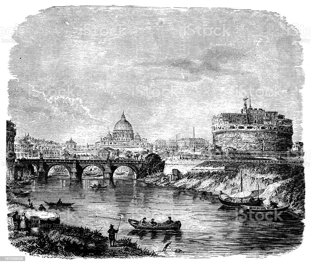 19th century engraving view of Rome, Italy vector art illustration
