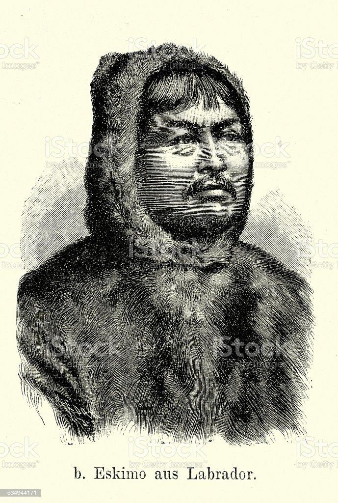 19th Century Eskimo of Labrador vector art illustration