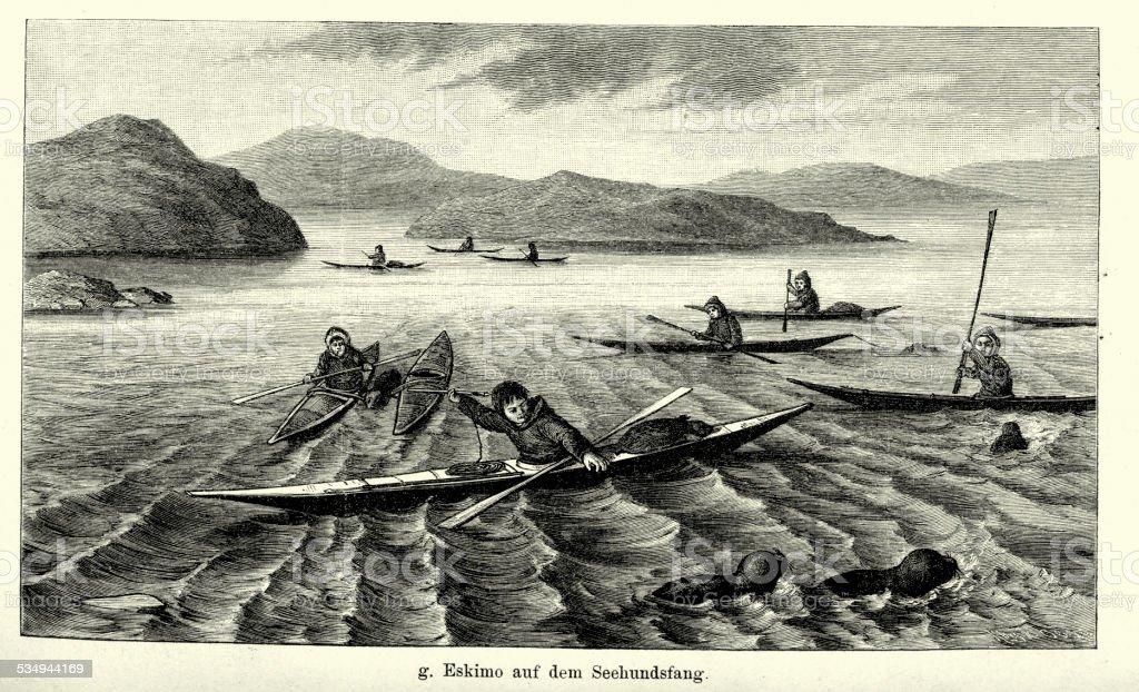 19th Century Eskimo seal hunt vector art illustration
