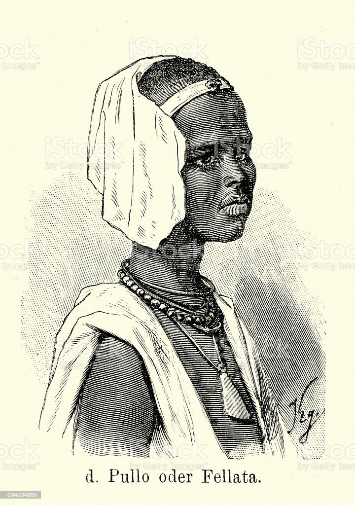 19th Century Fula Girl vector art illustration