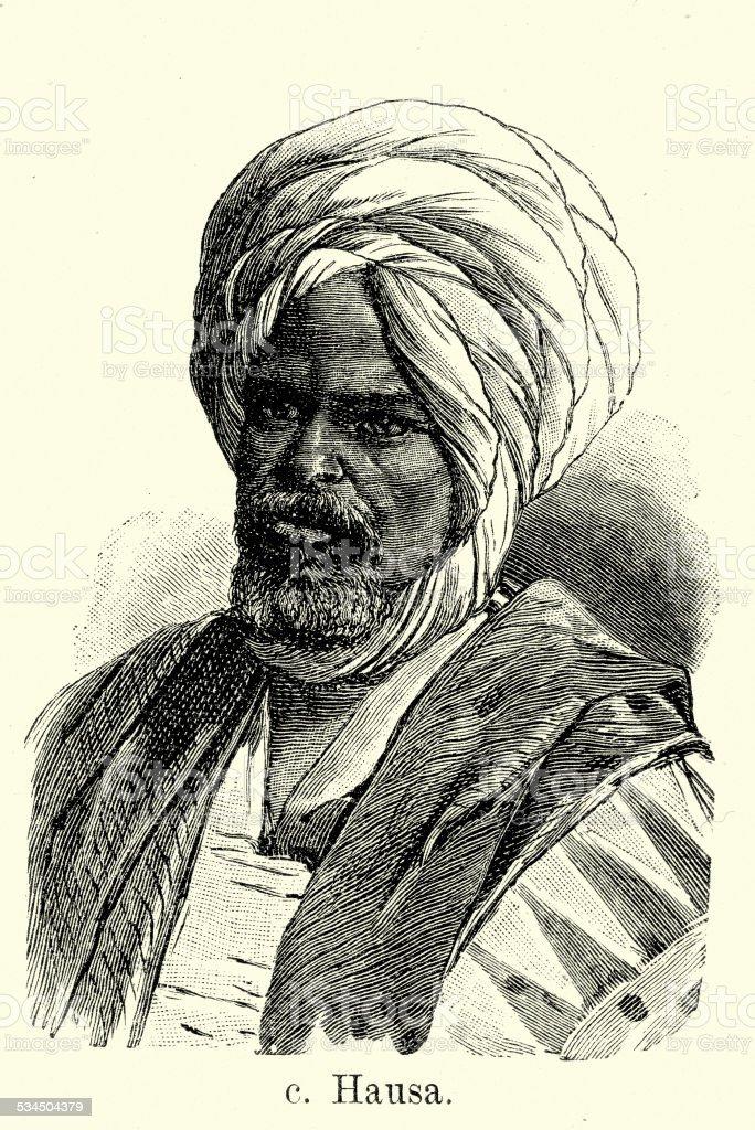19th Century Hausa Man vector art illustration
