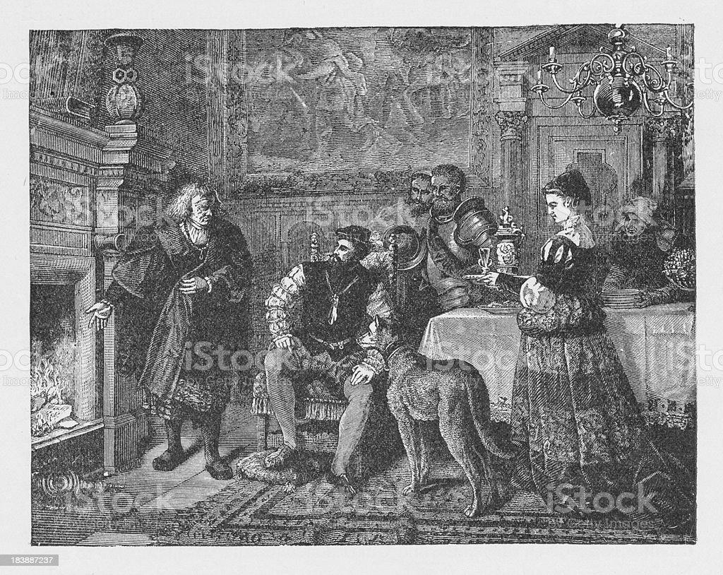 19th century illustration about Charles V at Fugger of Augsburg vector art illustration