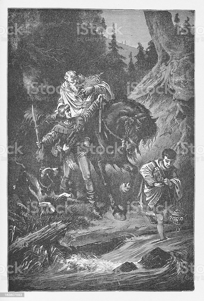 19th century illustration about  Rudolph I of Germany royalty-free stock vector art