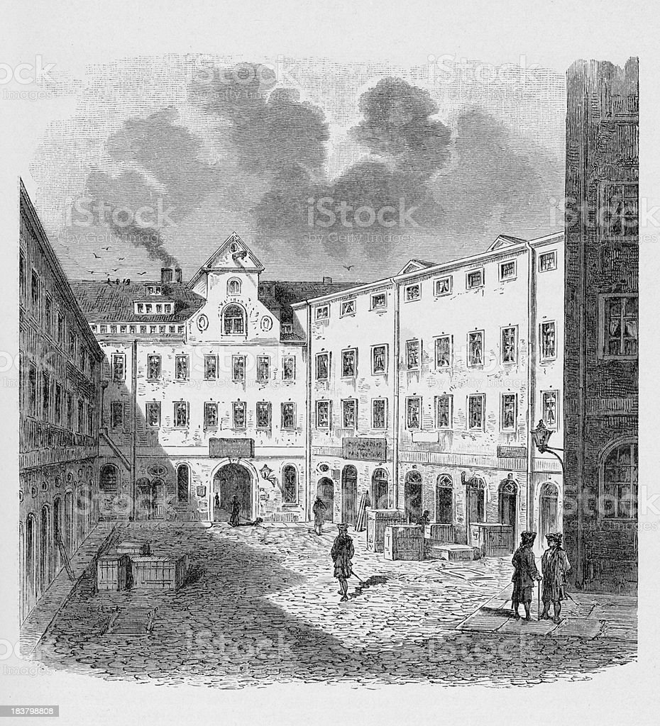 19th century illustration about street view of Leipzig, Germany royalty-free stock vector art