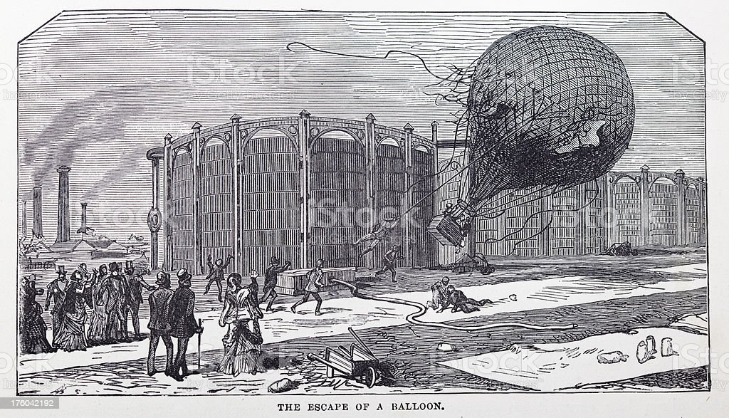 19th century illustration of a escaping gas balloon royalty-free stock vector art