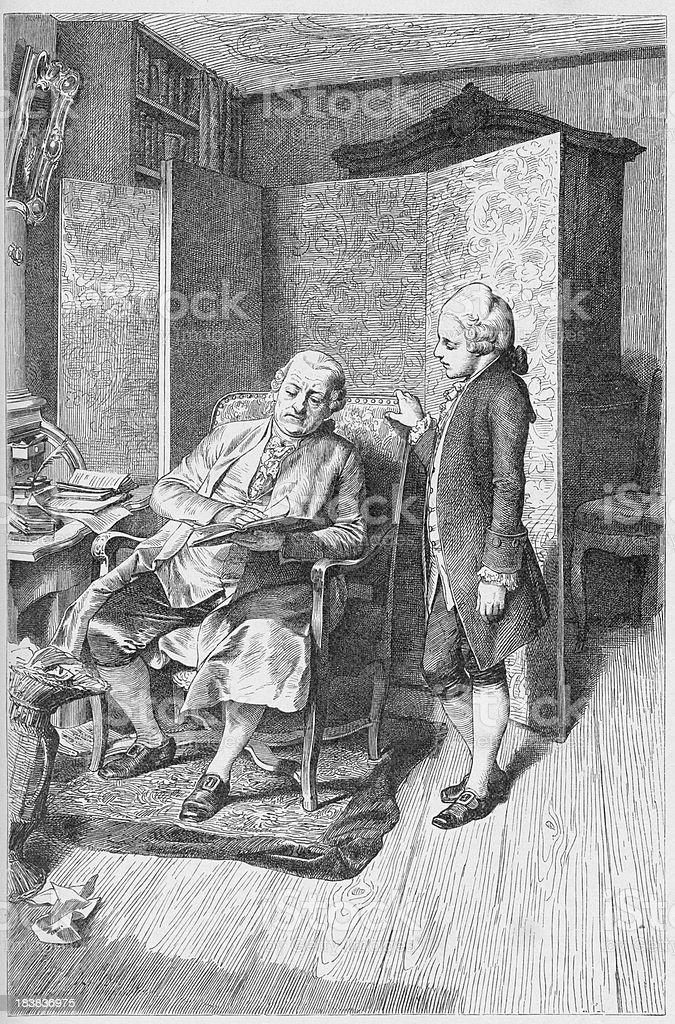 19th century illustration of a man reading on chair vector art illustration