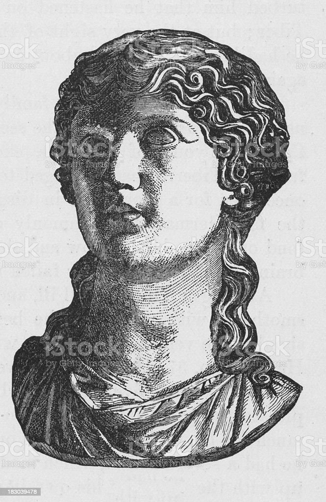 19th century illustration of Agrippina Roman empress vector art illustration