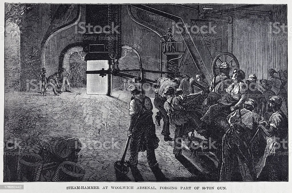 19th century illustration of arms factory producing a cannon vector art illustration