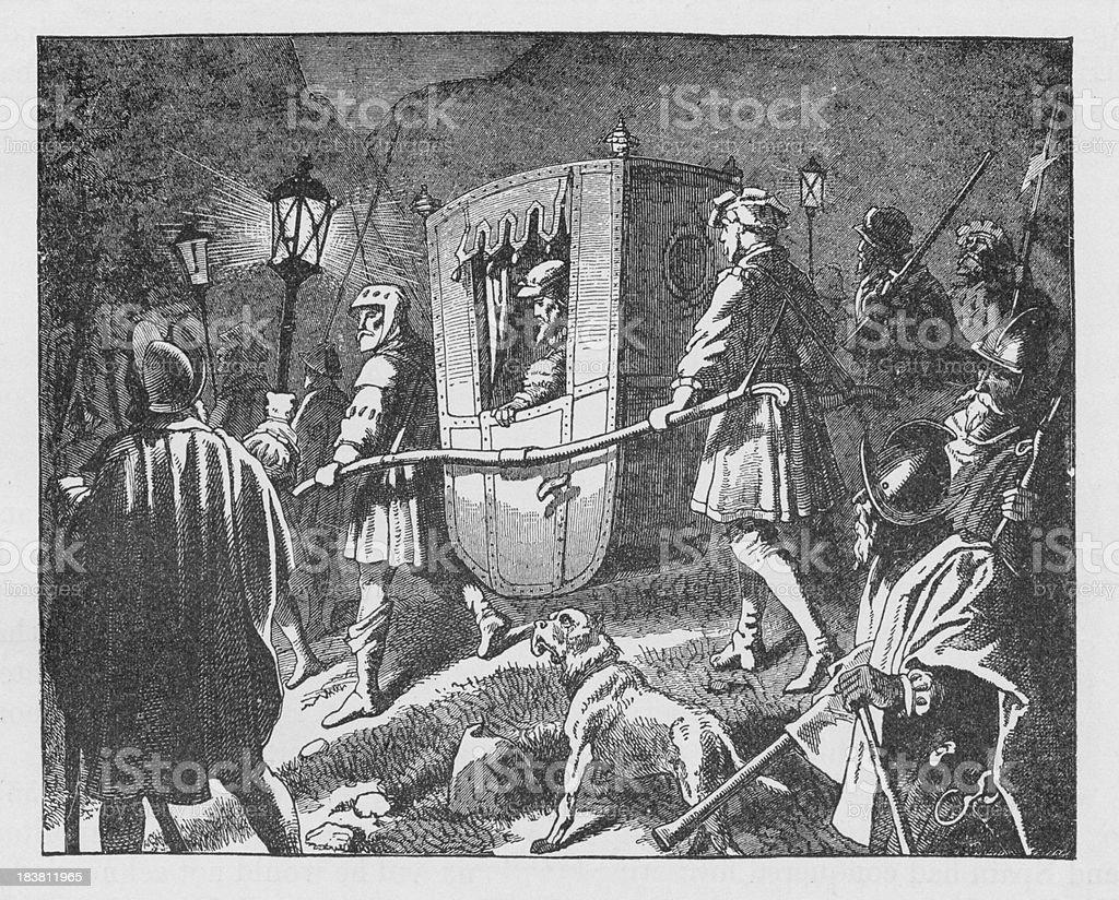 19th century illustration of Charles V / Carlos I  fleeing vector art illustration