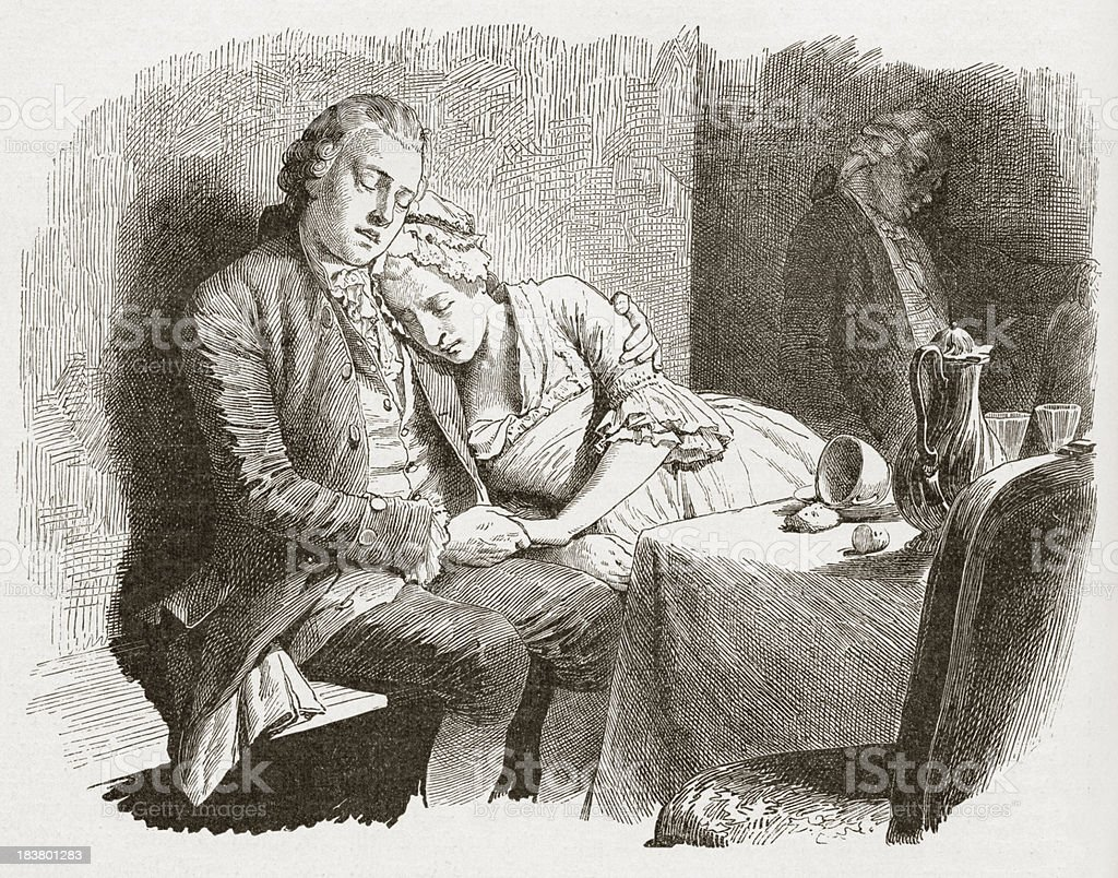 19th century illustration of couple sleeping at the table royalty-free stock vector art
