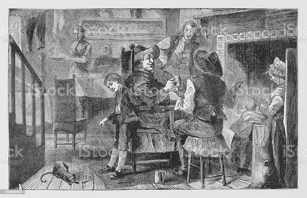 19th century illustration of Dutch household at New York royalty-free stock vector art
