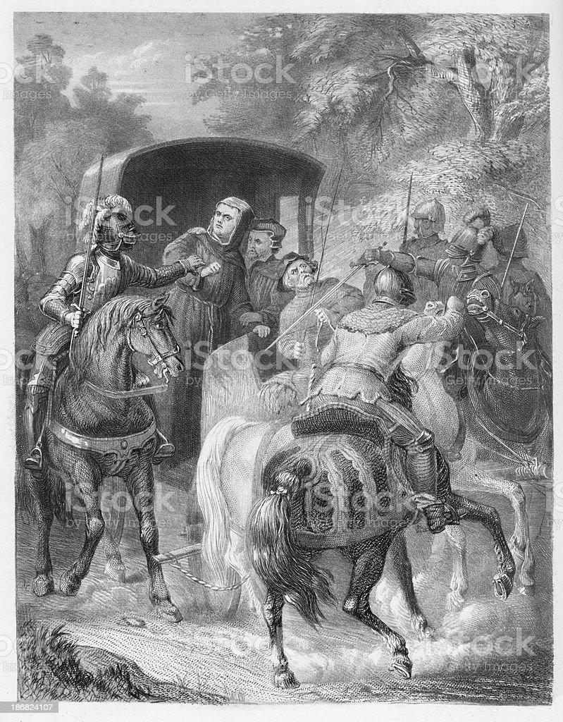 19th century illustration of Martin Luthers capture vector art illustration