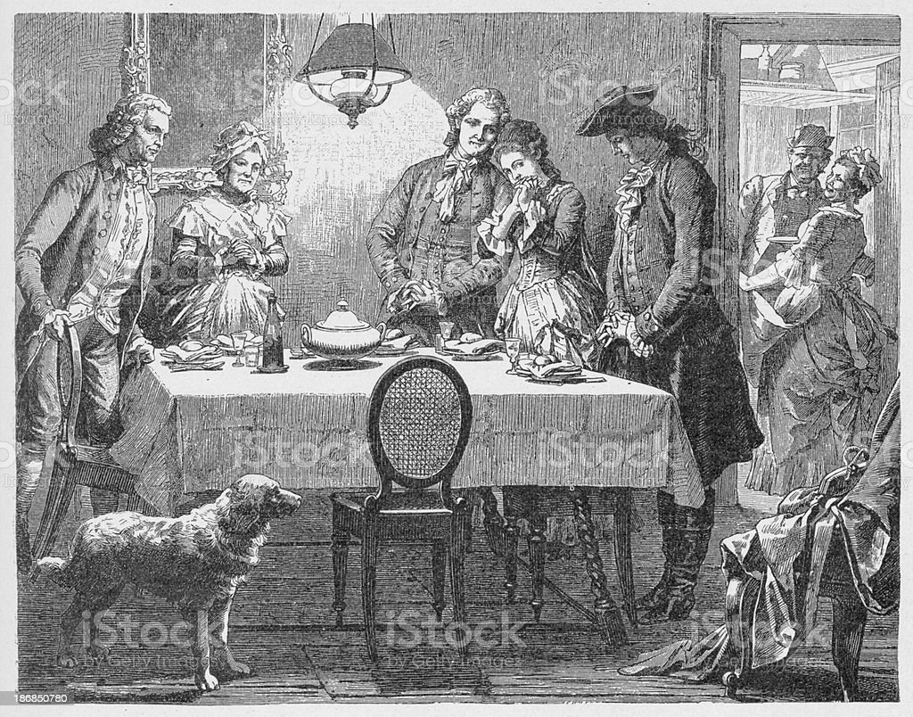 19th century illustration of people saying grace at meal vector art illustration