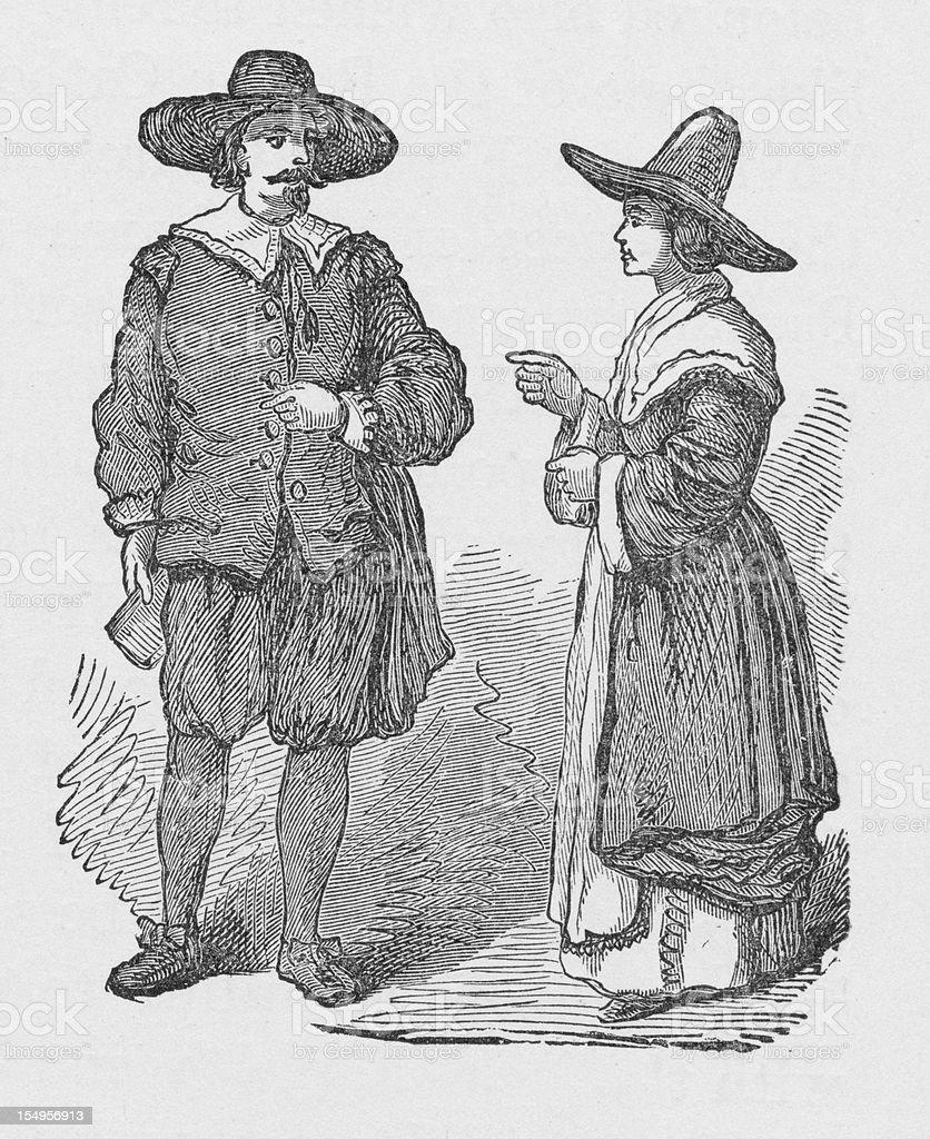 19th century illustration of pilgrims royalty-free stock vector art
