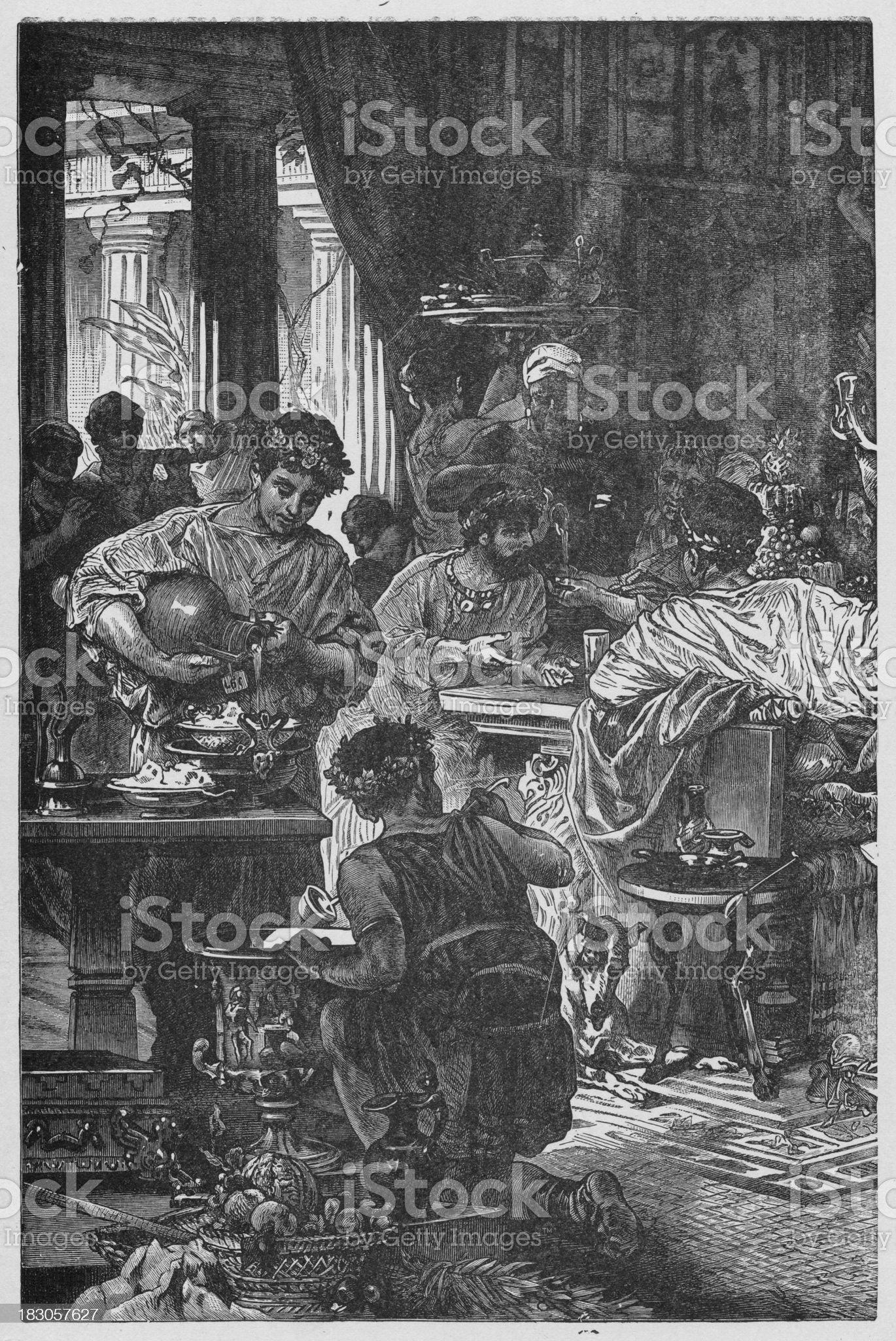 19th century illustration of Roman banquette royalty-free stock vector art