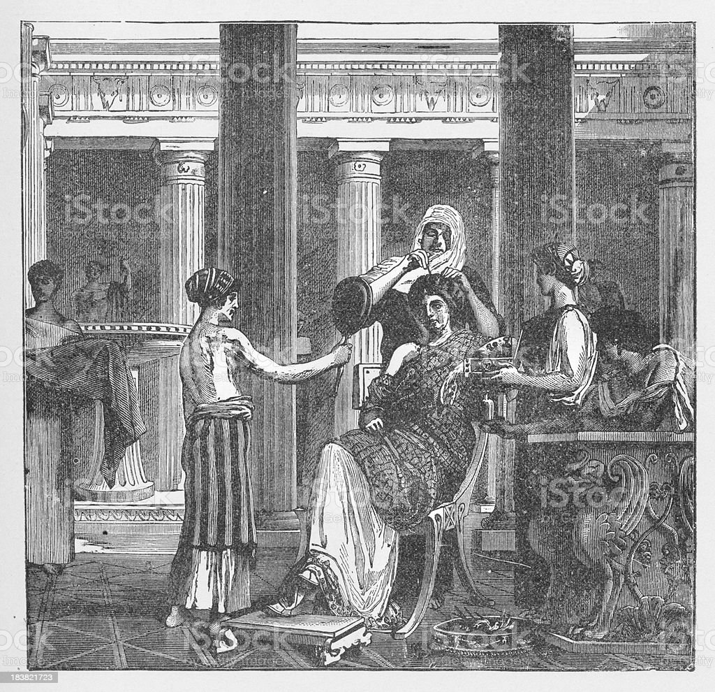 19th century illustration of roman lady at bathroom vector art illustration