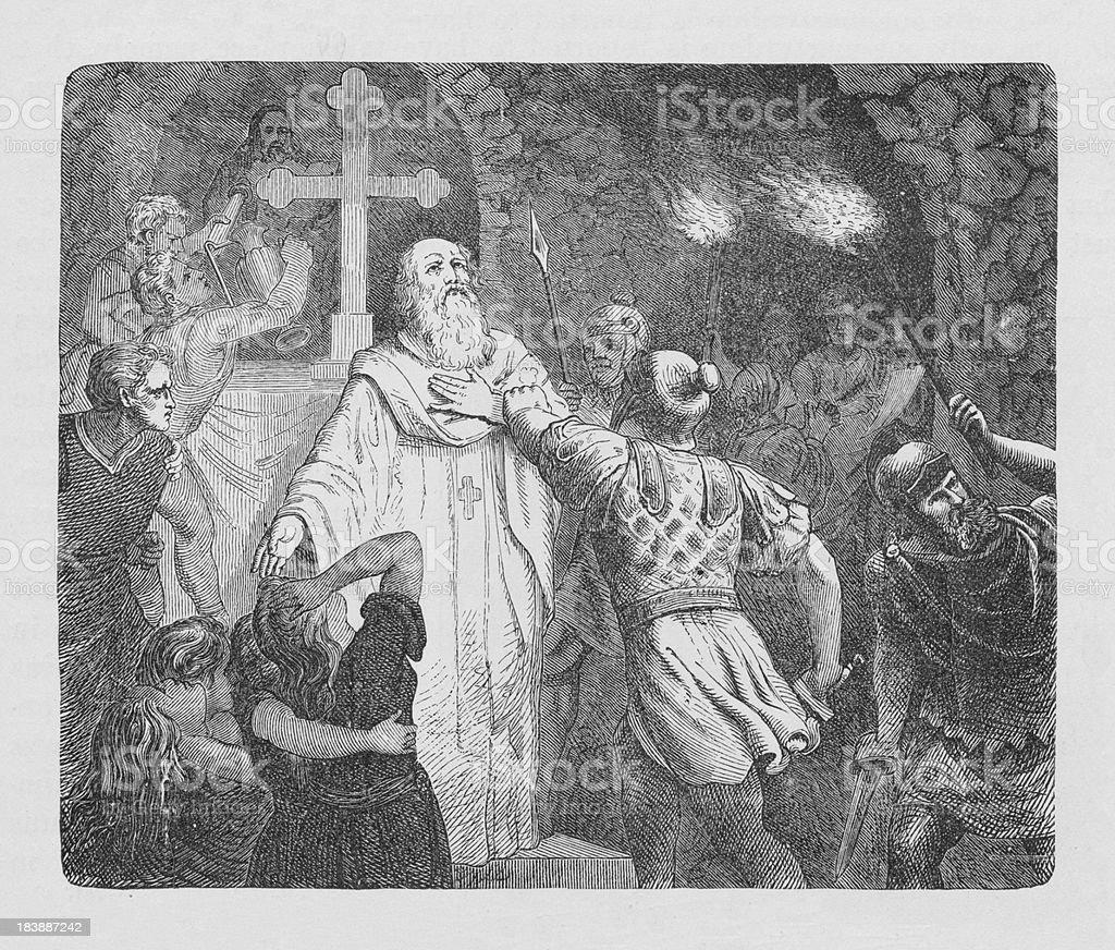 19th century illustration of roman soldiers attacking christians vector art illustration